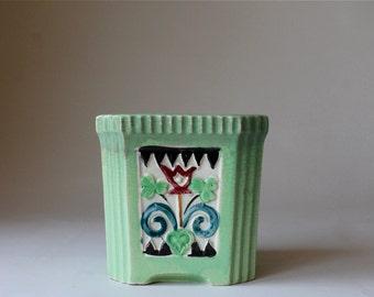 Vintage Art Deco Ceramic Planter, Art Deco Vase, Tulip Design Boho Planter, Made in Japan 1930s, Square Planter Green Planter