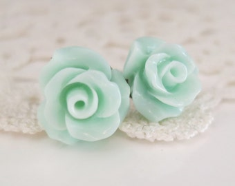 Mint Rose ear studs,Mint stud Earrings,Rose Stud Earrings,Seafoam studs,Bridesmaid studs,Mint Bridal Studs,Mint Flower Post Earrings