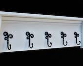 Coat Rack Shelf with Coat Hooks - Entry Way Shelf - Wood Shelf