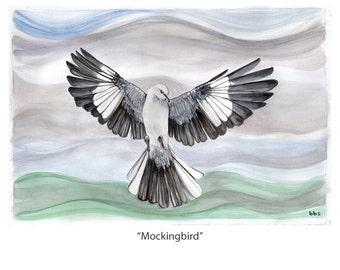 bird watercolor painting, mockingbird original artwork, nature art
