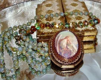 Guardian angel bead embroidery cabochon pendant hand knotted prayer necklace Pamelia Designs Sacred Jewelry