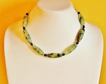 Moss Prehnite statement necklace, natural stone necklace, earthy jewelry, green necklace, gemstone jewelry, big bold chunky jewelry, hippie