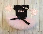 Pink and Black Birthday Dress Tutu Outfit for Baby Girls, Paris Birthday Cake Smash