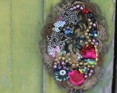 Aubusson- embroidered and beaded brooch, mixed media