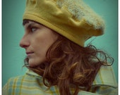 Yellow Upcycled Recycled Lambswool & Mohair wool Beret Hat