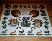 Vintage Fabric Applique, Wildlife Safari Applique, Cranston Print Works, Fabric panels, Elephant Lion Tiger fabric panels