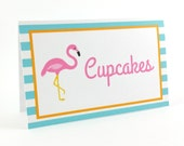 Flamingo Party Food Tent Cards, Flamingo Birthday Food Tent Cards, Flamingo Place Cards, Flamingo Party Decorations - SET OF 6