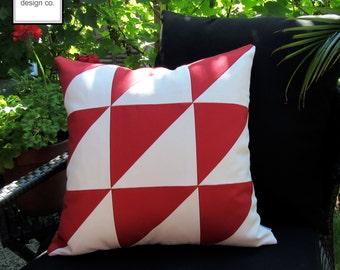 Red & White Outdoor Pillow Cover, Geometric Pillow Cover, Art Deco Color Block, Decorative Pillow Cover, Sunbrella Cushion Cover, Mazizmuse