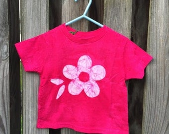 Flower Girls Shirt, Pink Flower Shirt, Kids Flower Shirt, Girls Flower Shirt, Fuchsia Flower Shirt, Batik Kids Shirt, Pink Girls Shirt (2T)