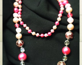 "27"" Vintage Beaded Necklace - Hot Pink Glass"