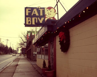 Fat Boy Burgers, Grand Rapids photo, Mid Century neon sign, vintage sign, diner, hamburgers, restaurant, food art, photography, 1950s diner