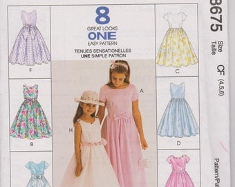 8675 McCalls Uncut Sewing Pattern Children's  and Girl's  Dress * 8 Great Looks ONE Easy Pattern Size 4,5,6