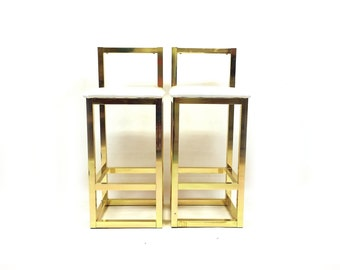Pair of Vintage Bar Stools In Gold