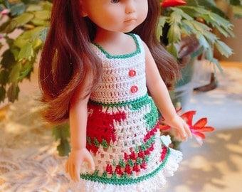 PDF PATTERN Crochet 13 inch Corolle Les Cheries Doll Thread SunDress Headband Bow Maryjane Shoes