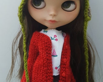 Red cardigan jacket for Neo Blythe Pullips Licca