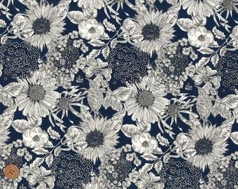 Swim Dunclare, Liberty Tana Lawn Fabric, Liberty of London, Liberty Japan, Cotton Print Scrap, Blue Flower Floral, Quilt, Patchwork, kt2151z