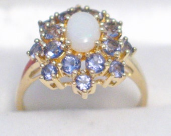 sz 8.25 14k yellow gold purple tanzanite white opal gemstone ballerina cluster cocktail ring band womens wordrobe jewelry fashion statement