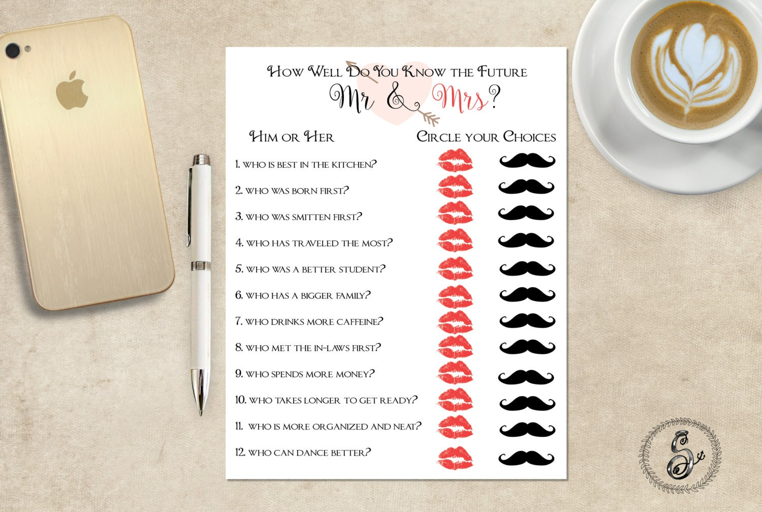 Bridal Shower Game Printable Mr And Mrs. By