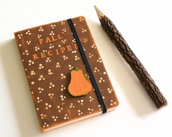 Pumpkin Recipe Journals handpainted in country style and Autumn colors with elastic closure