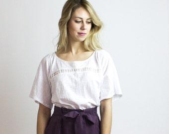 Kimono Organic Tshirt / Eco cotton & Bamboo kimono style t-shirt / White - Black