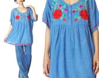 Vintage Peasant Blouse Roses Floral Embroidered Blouse Hippie Boho Tunic Top Blue  Short Sleeve Blouse Festival Loose Flowy Blouse (L)