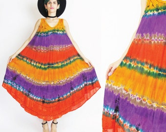 Vintage Tie Dye Tent Dress Batik Ethnic Embroidered Dress Sleeveless Summer Dress Gypsy Hippie Boho Sun Dress Festival Beach Dress (L/XL)