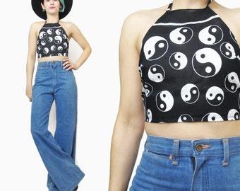 Ying Yang Halter Top Yin Yang Print Festival Crop Top Raver Backless Tank Top Black & White Cotton Backless Tank Vintage Bralette (XS/S)