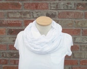 White Gauze Scarf Cool Summer Scarf Lightweigt Spring Infinity Scarf Summer Fashion Womens Scarves Off White Scarf