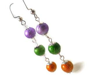 Dangle Earrings, Purple Green Orange, Drop Earrings, Halloween Earrings for Teenage Girl, Jewelry for Teen Girls, Long Colorful Earrings
