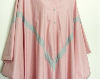 INSANE 80s Pink PVC Hooded Cape Rain PONCHO, size osfa
