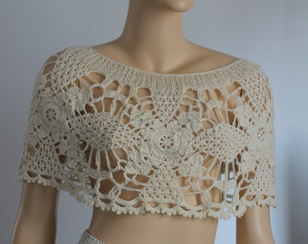 Wedding Crochet Lace Capelet Poncho Shrug, Bridal capelet shrug , Summer Cover up, Ivory , Off white crochet cape shrug ,Sexy, Beach, Luxury