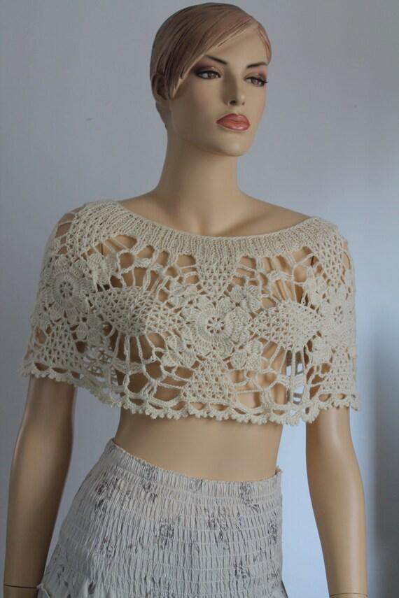 Wedding Crochet Lace Capelet Poncho Shrug, Bridal capelet shrug , Summer Cover up, Ivory , Off white crochet cape shrug ,Sexy, Beach, Luxury