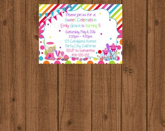 Candyland Birthday Invitation, Candy land Party, Sweet Shoppe Birthday Invitation, Girls Candy Birthday Invite