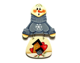 Snowman with Blue Sweater Ornament, Christmas, Handpainted Wood, Hand Painted Ornament, Tole Decorative Painting