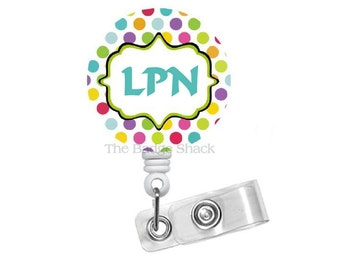 "LPN Polka Dot 1.5""  - ID Badge Reel - Medical Badge Reel - Nursing Badge - Name Badge Reel - LPN Badge - Nurse Gift - Nurse Badge"