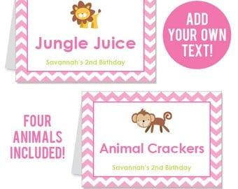 INSTANT DOWNLOAD Pink Safari Party Buffet Cards - EDITABLE Printable File