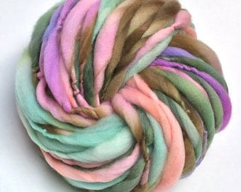 Super bulky hand spun yarn, 50 yards and 3.1 ounces/89 grams, spun thick and thin in merino wool