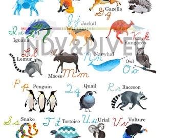 Cursive Animal ABC Chart, Alphabet, Poster, School Teaching Aid