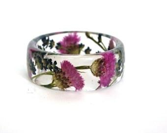 Resin bangle bracelet.Pink Bracelet. Blue bracelet. Cornflower jewelry. Lavanda. Pressed flowers. Real flowers. Flower jewelry. Botanical