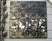 Rustic Vintage Tin Ceiling Tile. Circa 1925.  Ready to Hang.  Architectural salvage. Metal wall tiles decor.  Old pressed tin from Oklahoma.