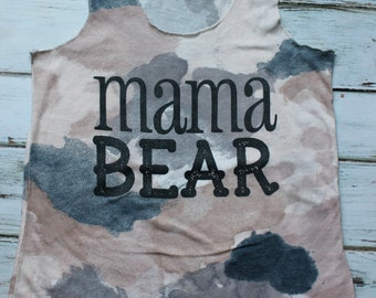 MAMA BEAR: Screen Printed Blush and Ash Camo Women's Fitted Racerback Tank- Small, Meduim, Large, X-Large