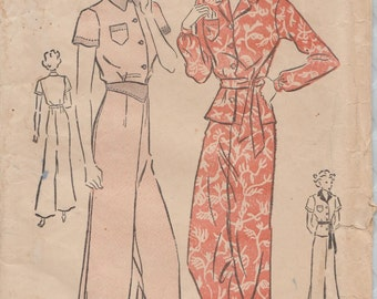 Advance 1960 / Vintage 30s Sewing Pattern / Pajamas Lingerie / Size 16 Bust 34