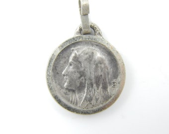 Vintage Virgin Mary - Our Lady of Lourdes Catholic Medal - French Religious Charm - Catholic Jewelry X21