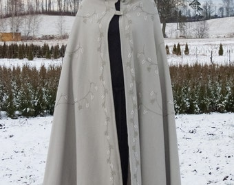 Hand embroidered lined wool cloak