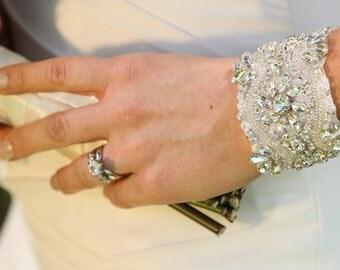 Tina Wedding Bridal Rhinestones Crystal Bracelet Cuff with Ribbon Closure
