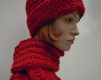 Crimson Red Hat and Scarf - Candy Apple Bright Red Hat and Scarf set - Crochet Hat and Scarf
