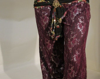Harem Pants, Pantaloons, Belly Dance Costume, Petite Belly Dance, Gypsy Dance Costume, Ren Faire Costume, Belly Dance Pants, Lace Dance Pant