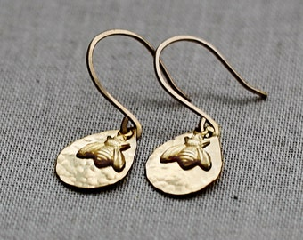 Honey Bee Earrings, Gold Drop Earrings, Tiny Gold Earrings with Charm, Gift for Her