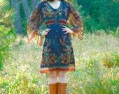 Size Large... Sheer Floral Autumn Dress... Botanical Reverie... Adjustable Waist... Upcycled