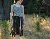 FREE SIZE... 1920s Style Fringed and Bejeweled Dress... Adjustable Lace Up Sides... Classic Glamor